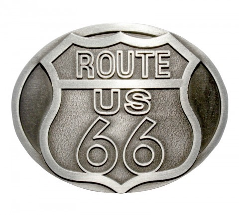 Route 66 metallic belt buckle