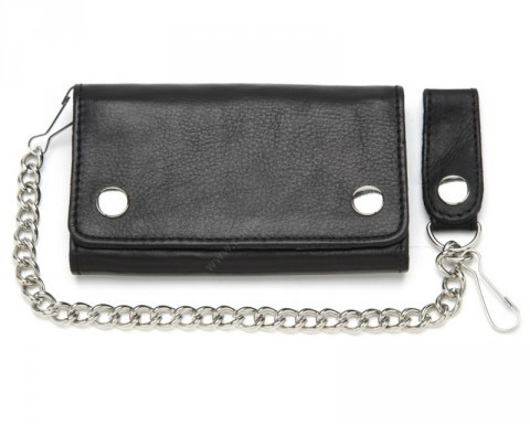Large size custom style black cowhide chain wallet