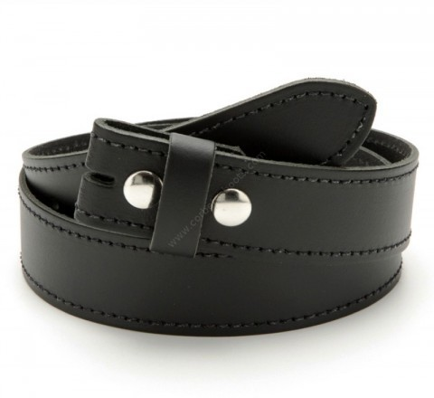Black plain leather belt without buckle