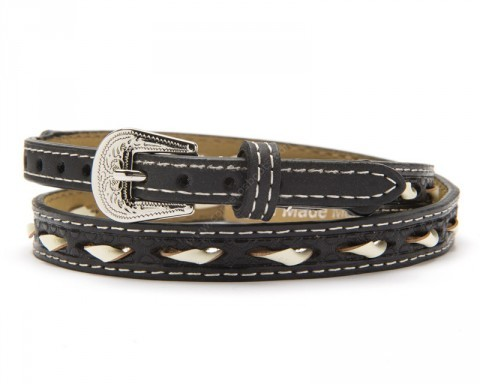 Rawhide black leather hat band with weaved ivory lacing