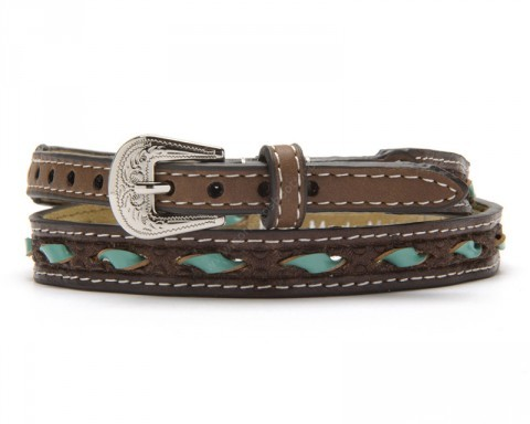 Rawhide brown leather hat band with weaved turquoise blue lacing