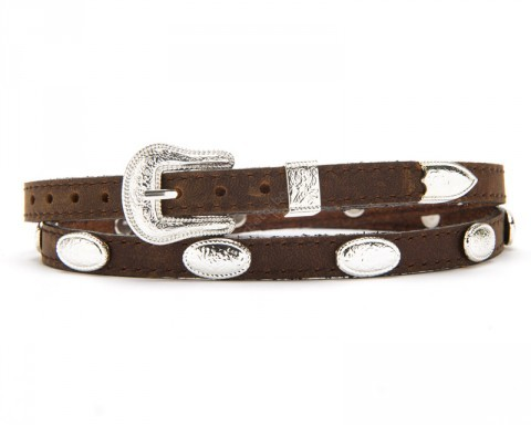 Narrow width brown hat band with shiny engraved conchos