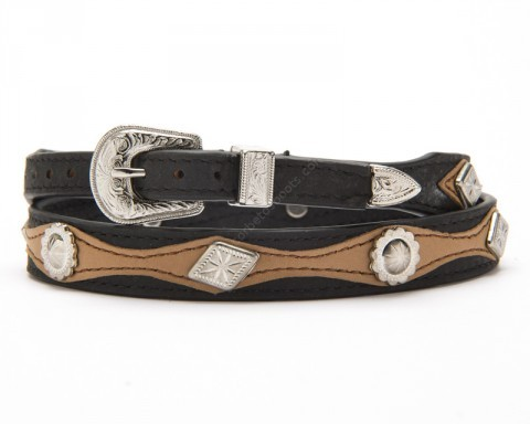 Beige and black leather combination western hat band with conchos
