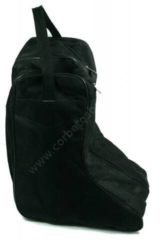 Black nylon cowboy boot bag with zipper pouchers and handle