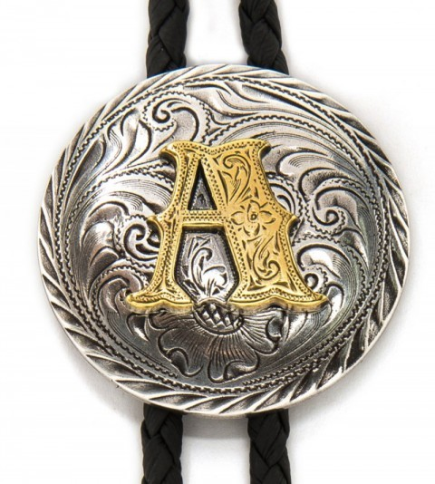 A initial western bolo tie