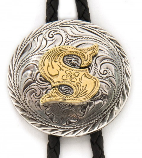 S letter western bolo tie