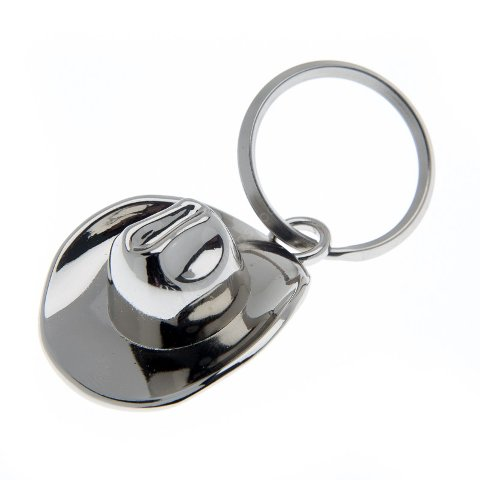 Polished metal cowboy hat key ring