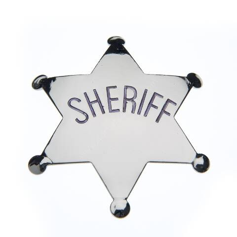 Silver metal SHERIFF badge
