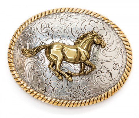 Golden galloping horse oval belt buckle