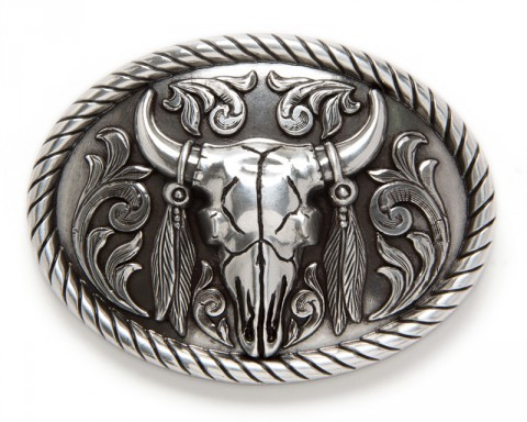 Metallic silver steer skull cowboy belt buckle with feathers