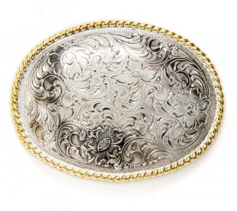 Nocona silver metal engraved filigree western buckle