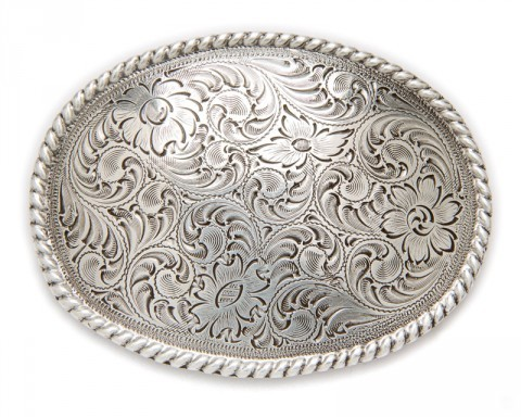 Nocona antiqued metal engraved filigree buckle