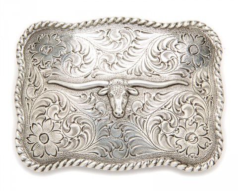 Longhorn with scrolls unisex cowboy belt buckle