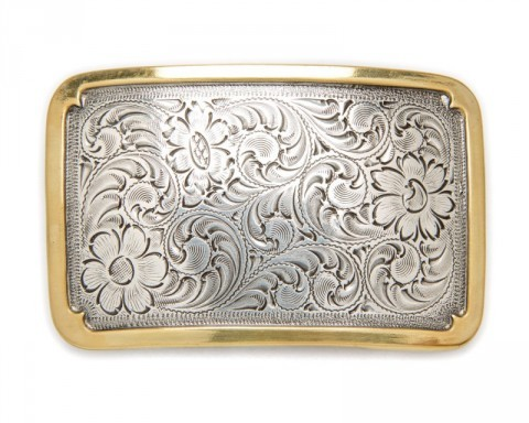 Nocona engraved floral filigree buckle