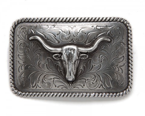 Silver longhorn in relief Nocona western belt buckle