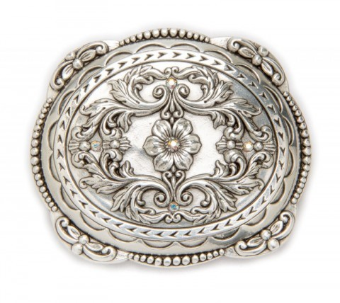 Floral filigrees buckle with rhinestones