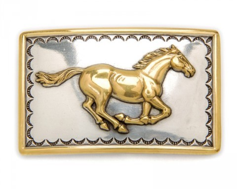 Nocona golden galloping horse rectangular belt buckle