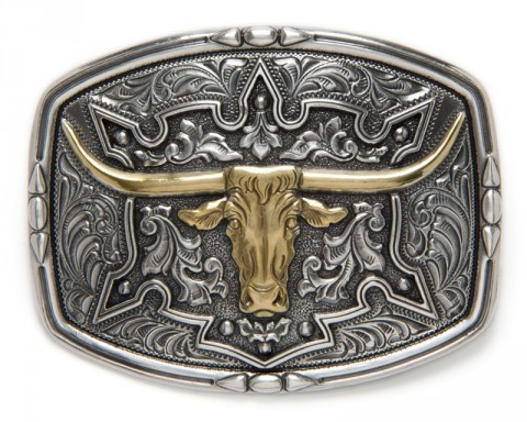 Raised golden steer head with filigrees cowboy belt buckle