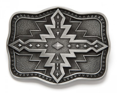 Aztec engraved motif belt buckle