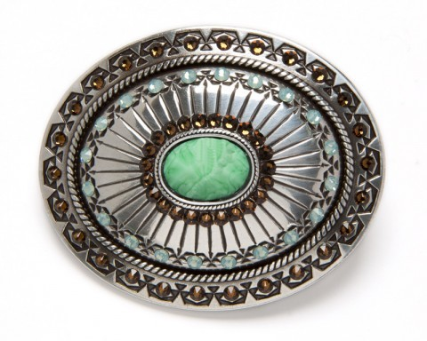 Silver plated women belt buckle with carved emerald green colored stone