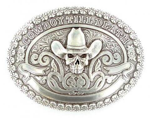 Cowboy till Death custom engraving text belt buckle