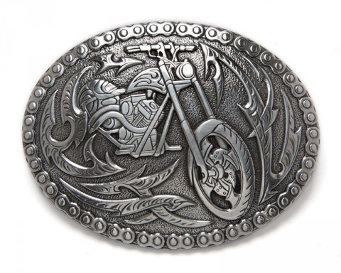 Buy now this biker style silver belt buckle with a custom motorbike surrounded by tribal flames and a chain link border at our online shop.