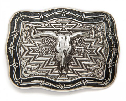 Steer skull big size belt buckle