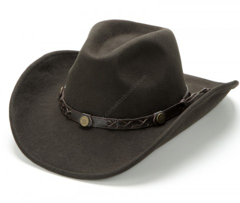 Classic water repellent dark brown wool felt crushable western hat