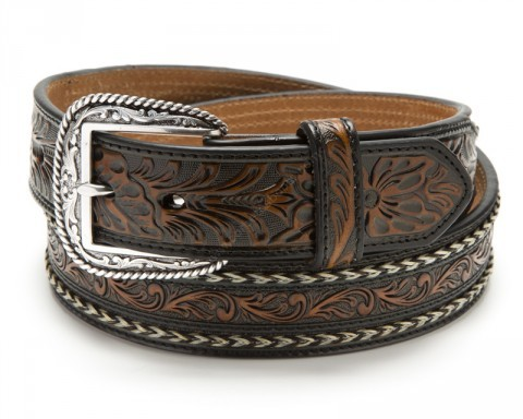 Ariat brown & black tooled leather western belt with natural braided horse hair