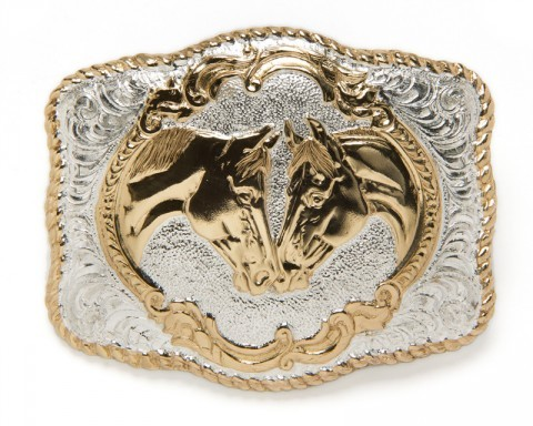 Silver and bronze electroplated rodeo style Crumrine belt buckle with staring horses