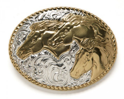 Crumrine silver plated embossed horses buckle