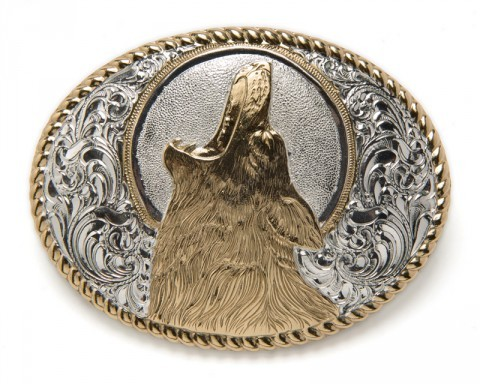 Silver plated howling wolf Crumrine cowboy belt buckle