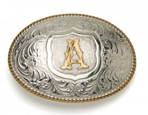 Crumrine Silversmiths A initial silver plated buckle