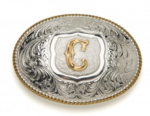 Crumrine Silversmiths C initial silver plated buckle