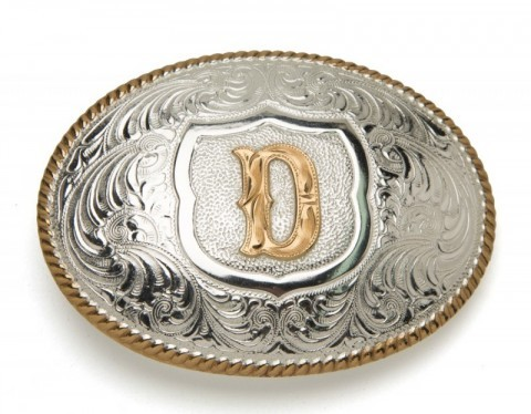 Crumrine Silversmiths D initial silver plated buckle