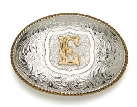 Crumrine Silversmiths E initial silver plated buckle