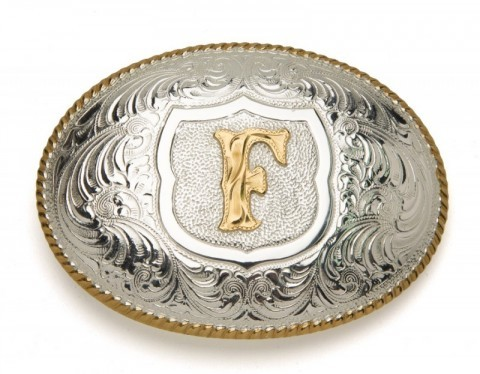 Crumrine Silversmiths F initial silver plated buckle