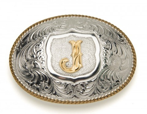 Crumrine Silversmiths J initial silver plated buckle