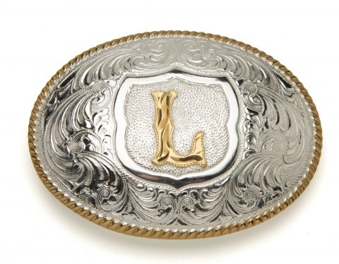 Crumrine Silversmiths L letter silver plated buckle