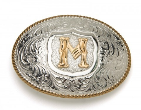 Crumrine Silversmiths M initial silver plated buckle