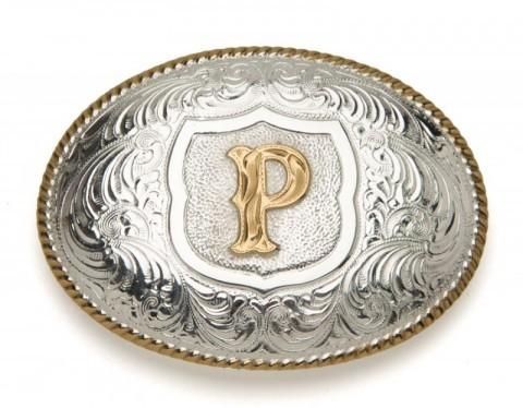 Crumrine Silversmiths P initial silver plated buckle