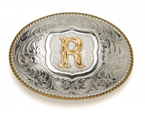 Crumrine Silversmiths R initial silver plated buckle