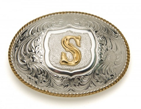 Crumrine Silversmiths S initial silver plated buckle