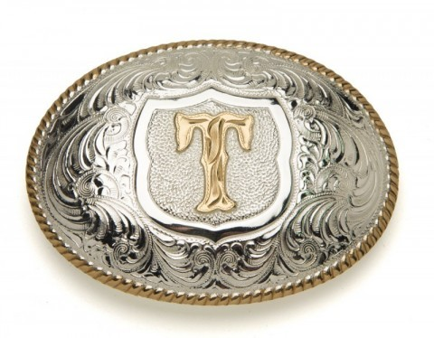 Crumrine Silversmiths T initial silver plated buckle