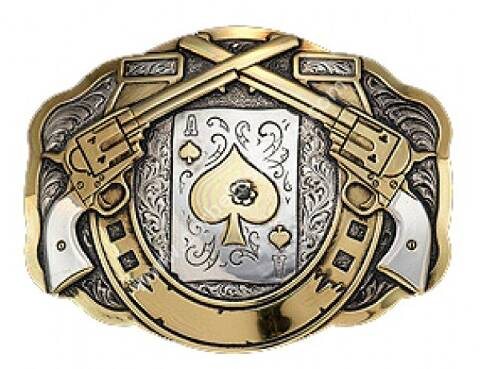 Shot ace of spades and Peacemakers silver plated Crumrine trophy buckle