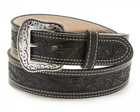 Tooled black leather western belt with scrolled embossed belt buckle