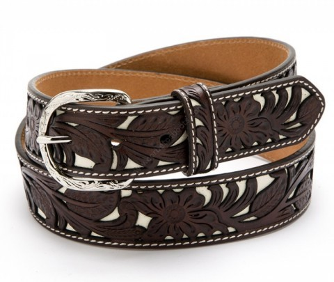 Nocona unisex dark brown floral tooled leather western belt with white inlay
