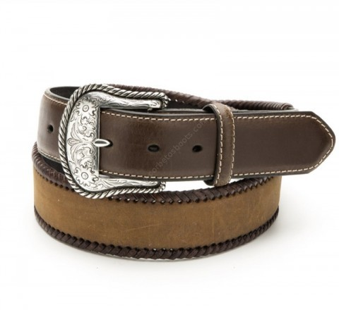 Nocona braided brown leather western belt
