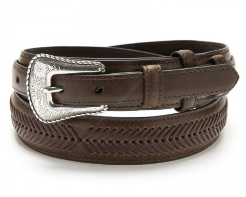 Nocona brown leather Ranger belt with laced arrows design