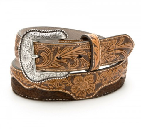 Tooled leather & cow hair western belt